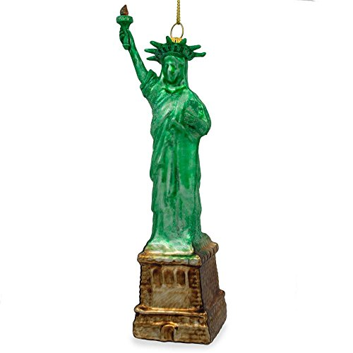 BestPysanky New York Statue of Liberty Blown Glass Christmas Ornament 6.25 Inches ()