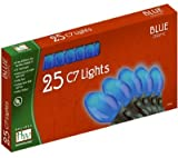 Outdoor Patio Party Christmas Lights Set Blue Ceramic 25-Count C7 by Noma/Inliten