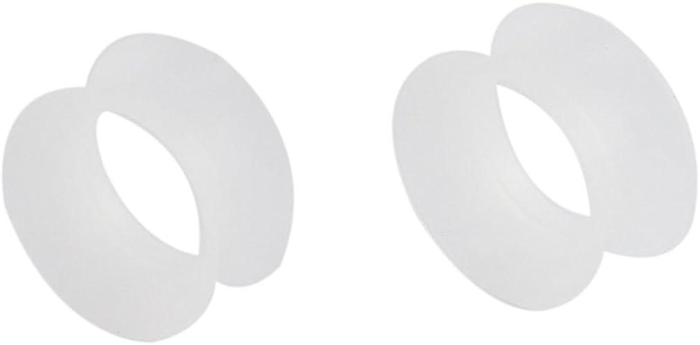 1 PAIR White Ear Skins Silicone Ear Plug Tunnels Flexible