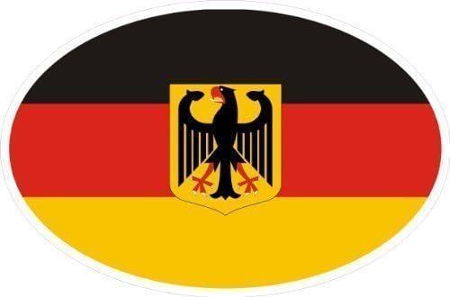Bandera de Alemania con águila Escudo ovalado Caravan Truck Bike Auto Adhesivo 10x 6,6cm: Amazon.es: Coche y moto