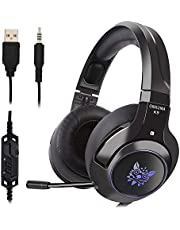 Qingta Gaming Headset, Comfortable LED Lighting Headsets Over-Ear Headphone with Mic for PS4 Nintendo Xbox One PC Laptop Mac Tablet with Noise Cancelling & Volume Control