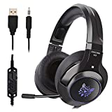 Ceppekyy Gaming Headset Compatible with PS4, PC, Xbox One, Surround Sound Over-Ear Headphones Compatible with Noise Cancelling Mic, LED Light, Soft Memory Earmuffs
