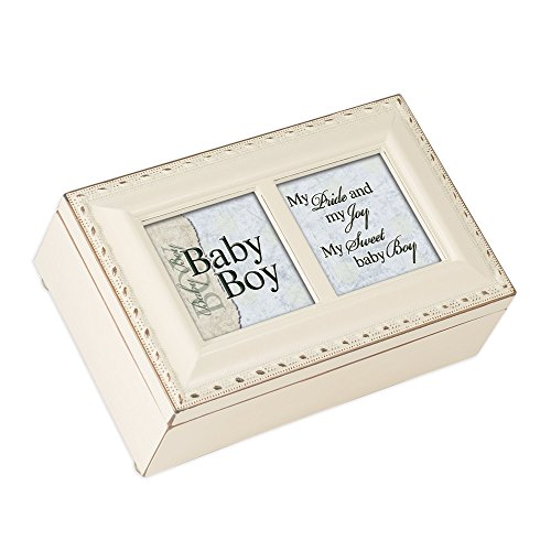 Cottage Garden Sweet Baby Boy My Pride and Joy Matte Ivory Jewelry Music Box Plays Brahms Lullaby