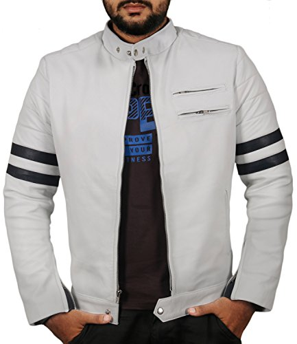 (Laverapelle Men's Genuine Lambskin Leather Jacket (White, Large, Polyester Lining) - 1501535)