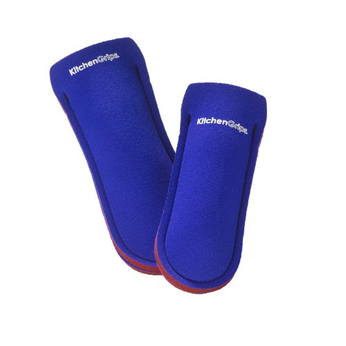 Kitchen Grips Deluxe 2-Piece Pan Handle Holder Set, Red/Royal Blue