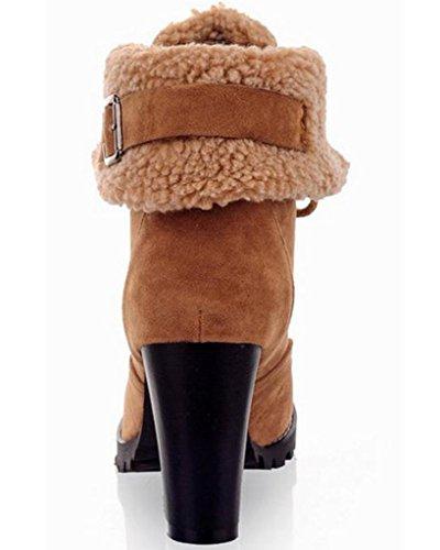 Cordones Boots Mujer Martin Zapatos Invierno Alto De Calentar Minetom Botas Botines Cortas Tacón Amarillo xUWHdq6v