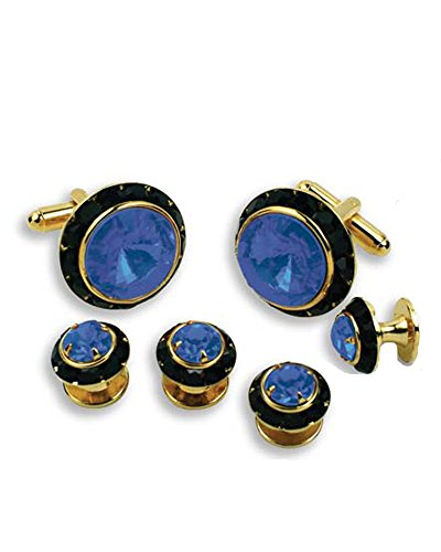 - Crystal Cufflinks and Studs with Sapphire Center and Black Trim
