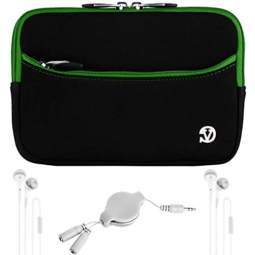 (VanGoddy 7-inch Black Green Trim Shock Absorbing Neoprene Tablet Sleeve Case with 2-Sets of White Headphones and Splitter for Amazon Fire 7 Tablet)