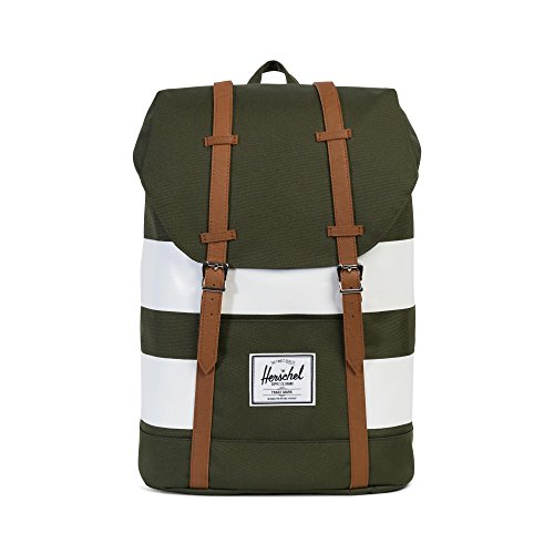 Herschel Supply Co. Retreat, Forest Night/White Rugby Stripe/Tan Synthetic Leather