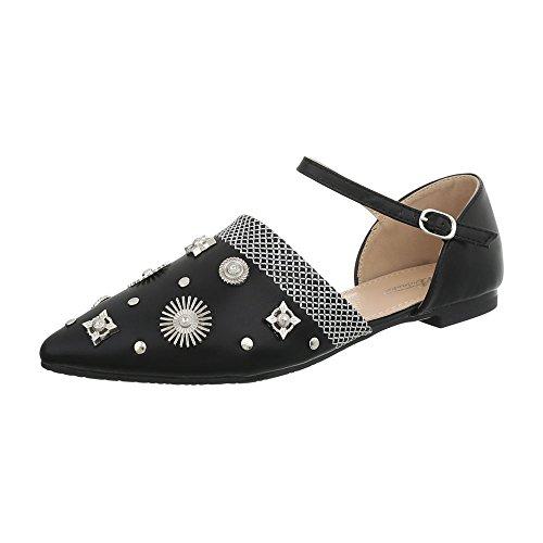 Ital Blocco da 127 Ballerine Ballerine 38 Donna Design a Nero Classiche Tacco Scarpe Z0qnwZar