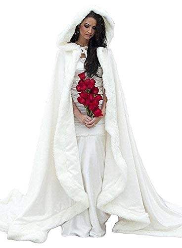 FairyBridal Women's Wedding Bridal Cloak Winter Christmas Capes Faux Fur Edge, White, Size: One size fit size 2 to size 28 by FairyBridal