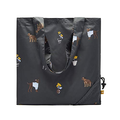 Price comparison product image Joules Packaway Shopper Bag One Size Black Dogs