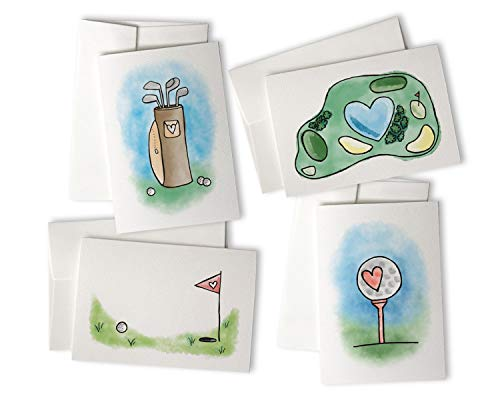 Golf Love Greeting Cards Variety Pack - 24 Note Cards with Envelopes