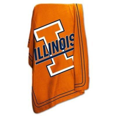 Logo Brands NCAA Illinois Fighting Illini Classic Fleece Blanket (Fighting Illini Blanket)