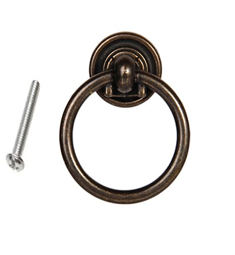 6PCS Furniture Hardware Drawer Drop Ring Pull Knob Bronze Tone / Antique Traditional Appearance, Solid Bronze Tone Ring Pull 38*47mm