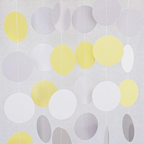 Chloe Elizabeth Circle Dots Paper Party Garland Streamer Backdrop (10 Feet Long) - Yellow, Gray, White ()