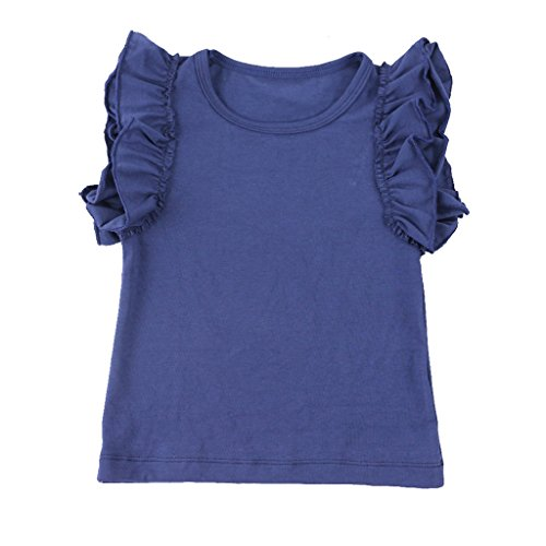 (Wennikids Little Girls' Double Ruffle Solid Tank Top 3X-Large Navy Blue)