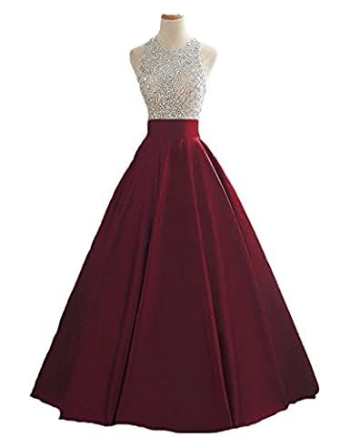 HEIMO Women's Sequins Keyhole Back Evening Ball Gown Beaded Prom Formal Dresses Long H095 4 Burgundy