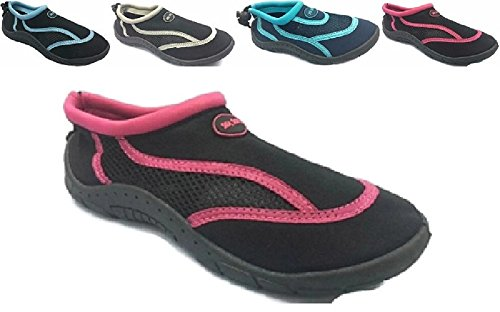 Sea sox Dames Dames Waterbestendige Waterschoenen Aqua Sokken Strand Zwembad Yoga Oefening Varen Surf Mesh Verstelbare Toggle Zwart / Fuchsia