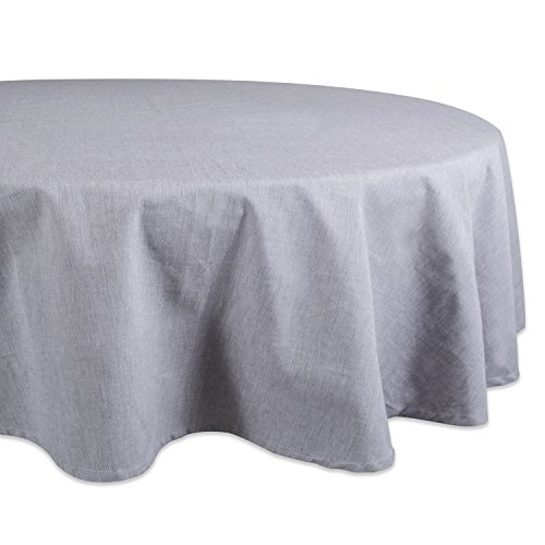 """DII 70"""" Round Cotton Tablecloth, Gray Chambray - Perfect for Weddings, Brunch, Catering Events, Dinner Parties, Buffets or Everyday Use"""