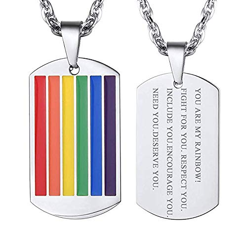 VNOX Personalized Stainless Steel Rainbow Gay Lesbian Pride Square Dog Tag Pendant Necklace for Men Women -