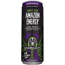 Sambazon Amazon Energy Drink, Jungle Love Passion Fruit & Acai Berry, 12 Ounce (Pack of 24)