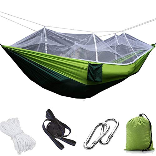 (1/2 Person Camping Hammock with Mosquito/Bug Net, Single &Double Hammock Lightweight Portable Parachute Nylon Hammock for Camping,Backpacking,Survival,Travel & More (260140cm/Fruit Green/ Dark Green) )
