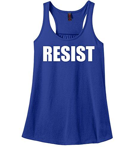 Comical Shirt Ladies Resist Tee Anti Donald Trump Political Protest Royal Blue L