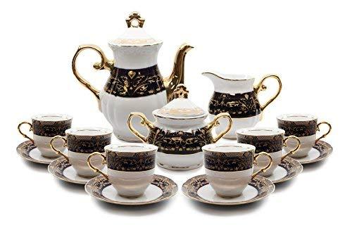Royalty Porcelain 17-pc Flower Pattern Dark Cobalt Blue Tea Set, 24K Gold-Plated Original Czech Tableware, Service for 6