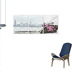 WinfreyDecor Motorcycle Wall Art Canvas Prints Illustration of Sport Bike by River on Modern Cityscape Background with Skyline Ready to Hang for Home Decorations Wall Decor 24x48x3pcs Pink Black