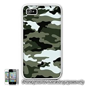 Green Gray Camo Camouflage Print Apple iPhone 4 4S Case Cover Skin White