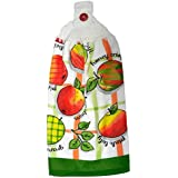 Apples and Words Double Kitchen Cotton Hand Towel Crochet Top White Red Green Orange Yellow