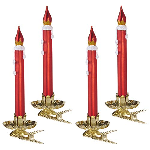 Raz Shiny Red Waxy Bulb Clip Candle 4.5 inch Glass Decorative Holiday Ornament Boxed Set of 4 (Clip On Glass Candles For Christmas Tree)