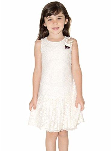 US Angels Ivory Fuzzy Lace Drop Waist Ruffle Dress (7)