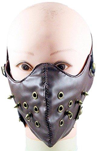 Qiu ping Men and women punk trend bronze spike retro personality motorcycle mask by Qiu ping