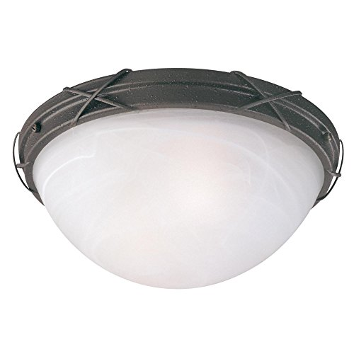 Westinghouse 6940700  Claremont Two-Light Exterior Flush-Mount Fixture  Textured Rust Patina on Steel with White Alabaster Glass,  Textured Rust Patina on Steel with White Alabaster Glass - Exterior 2 Light Flush