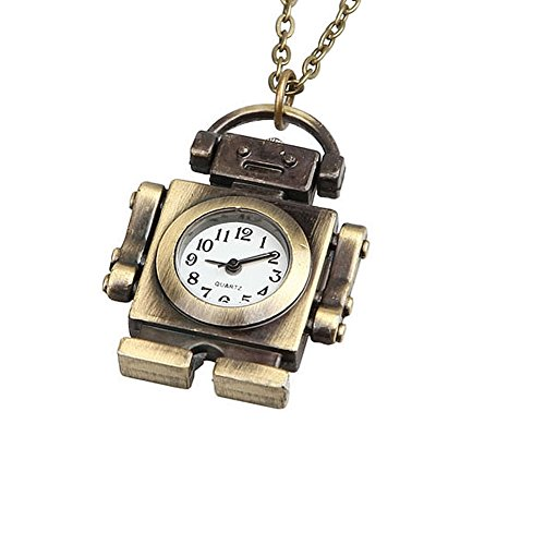 Enjoydeal Fashion Retro Pocket Watch Mini Robot Shaped Pendant Sweater Chain Necklace Quartz Clock