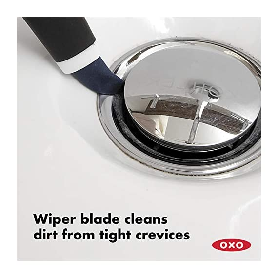 OXO Good Grips Deep Clean Brush Set 2 Set includes: Large Brush and Small Brush with Wiper Blade Large Brush is great for grout, shower-door tracks, stove tops and more Small Brush is perfect for fixtures and other tight spaces
