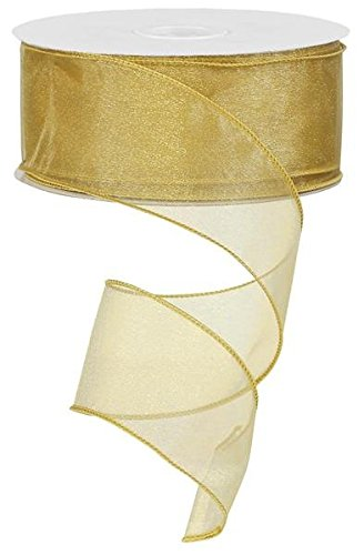 sheer organza ribbon wired. color-gold. 2 1/2'' x 50 yard -