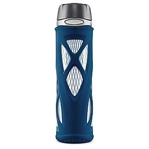 Zulu Atlas Glass Water Bottle with Flip Lid, Navy, 20 Oz.