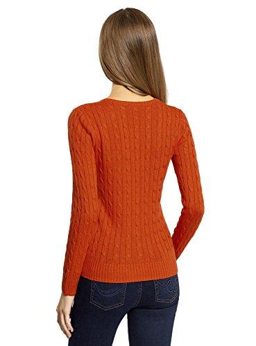oodji Collection Mujer Jersey de Punto con Trenzas Naranja (5900N)