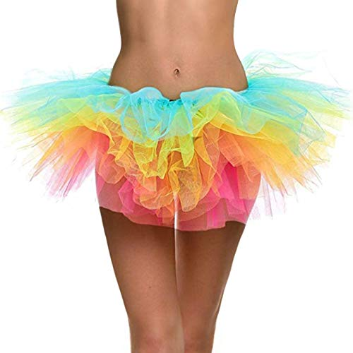 Naokenu Women Classic 5 Layered Tulle Tutu Skirt with Led Light Up Neon(Rainbow) -