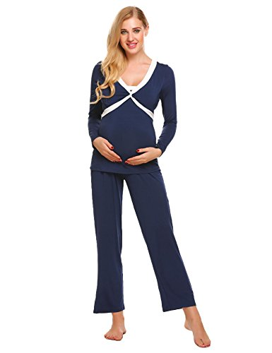 Cute Nursing Pajamas (etuoji Womens Comfy Long Sleeves Breastfeeding Maternity Sleepwear Nursing Pajama Sets Leisure Wear, Champlain Color, XX-Large)