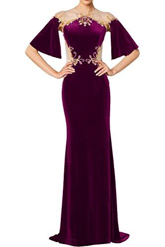Halbarm Ballkleider Samt Fuchsia Lang Stickerei Elegant Partykleider mit Abendkleider Damen Tuell Rundkragen Ivydressing Promkleider q48XwxX