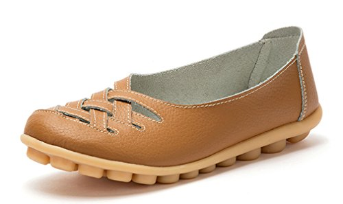 KEESKY Women's Leather Casual Cut Out Loafers Flat Slip-on Shoes Khaki