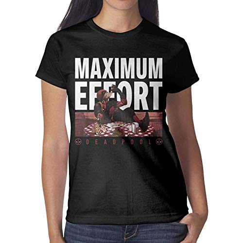 100% Cotton Women's Tshirt Short Sleeves Deadpool-Logo-Maximum-Effort-Marvel-Movie- Round Neck tees Mens t Shirts ()
