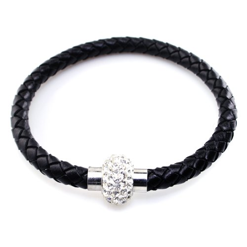 JewelrieShop Handmade Unisex Braided Genuine Leather Bracelet Bangle, Rhinestones Crystal, Stainless Steel Magnetic Clasp