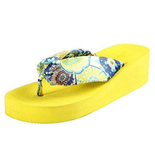 Yiiquan Mujeres Verano Chanclas Bohemia Pendiente Con Sandalias Flip Flop Amarillo #1