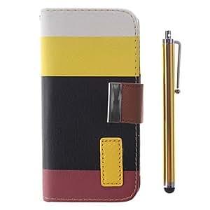 ZXM-Modelo del arco iris de la PU Leather Case cuerpo completo con soporte, ranura para tarjeta y la pluma de la aguja para el iPhone 5/5S