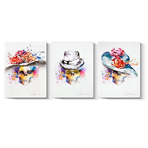 (Pinetree Art Mexican Sugar Skull Canvas Painting Watercolor Artwork Day of The Death Wall Art for Living Room and Bedroom (Small) )